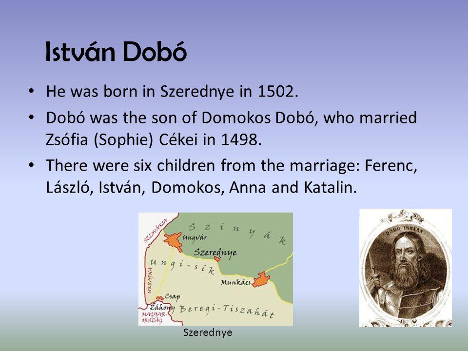 István Dobó He was born in Szerednye in 1502. Dobó was the son of Domokos Dobó, who married Zsófia (Sophie) Cékei in 1498. There were six children fro