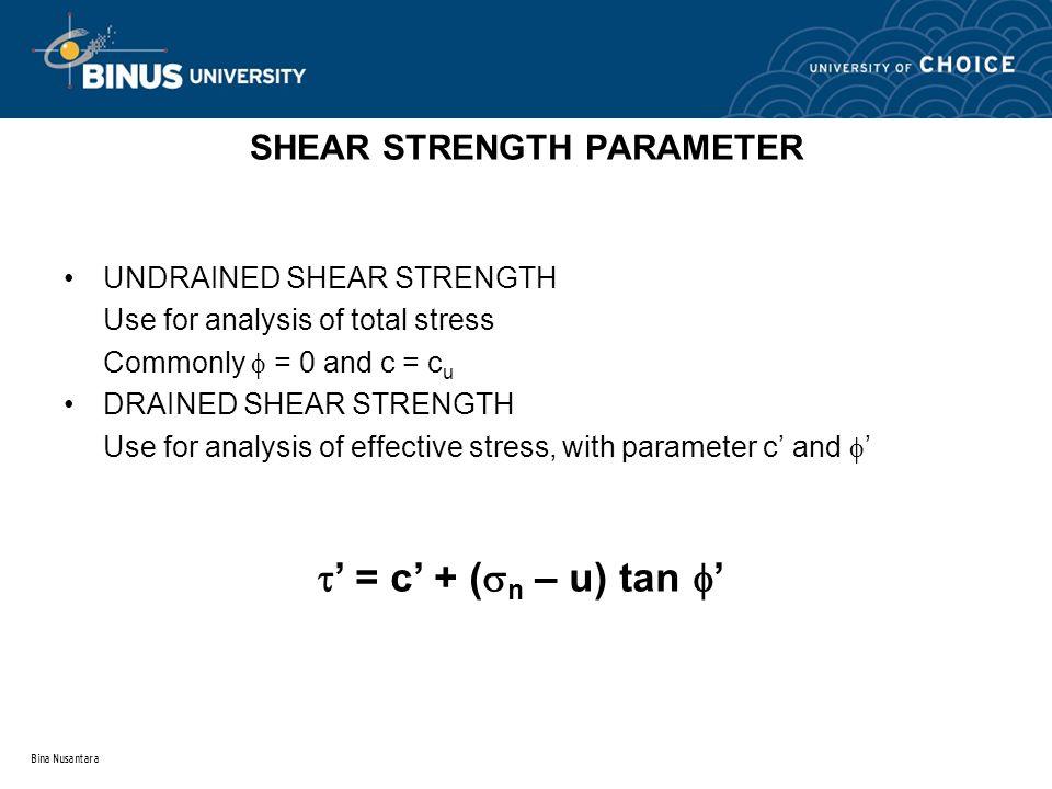Bina Nusantara SHEAR STRENGTH PARAMETER UNDRAINED SHEAR STRENGTH Use for analysis of total stress Commonly  = 0 and c = c u DRAINED SHEAR STRENGTH Us