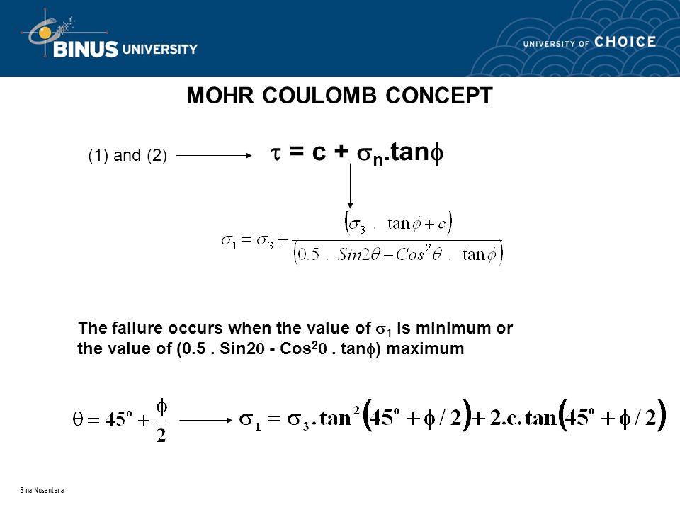 Bina Nusantara MOHR COULOMB CONCEPT  = c +  n.tan  (1) and (2) The failure occurs when the value of  1 is minimum or the value of (0.5. Sin2  - C