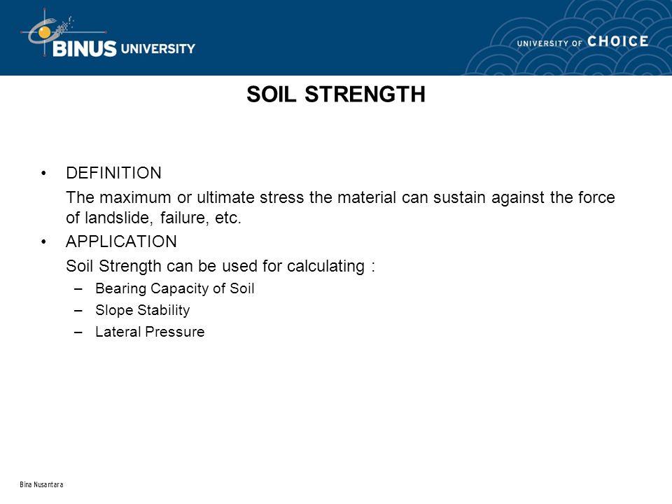 Bina Nusantara EXAMPLE USE OF UU STRENGTH IN ENGINEERING PRACTICE Footing placed rapidly on clay deposit