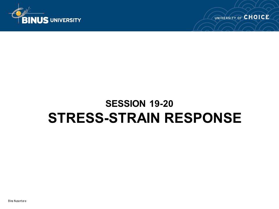 Bina Nusantara SESSION 19-20 STRESS-STRAIN RESPONSE