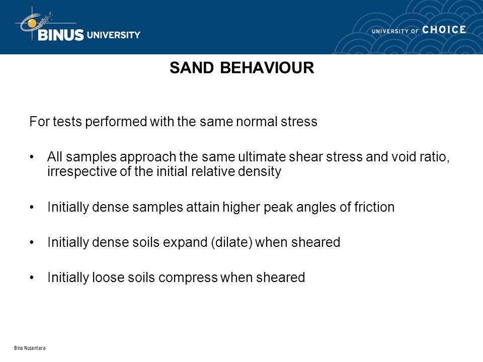 Bina Nusantara SAND BEHAVIOUR For tests performed with the same normal stress All samples approach the same ultimate shear stress and void ratio, irre