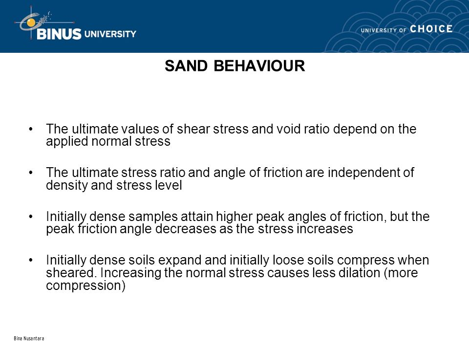 Bina Nusantara SAND BEHAVIOUR The ultimate values of shear stress and void ratio depend on the applied normal stress The ultimate stress ratio and ang