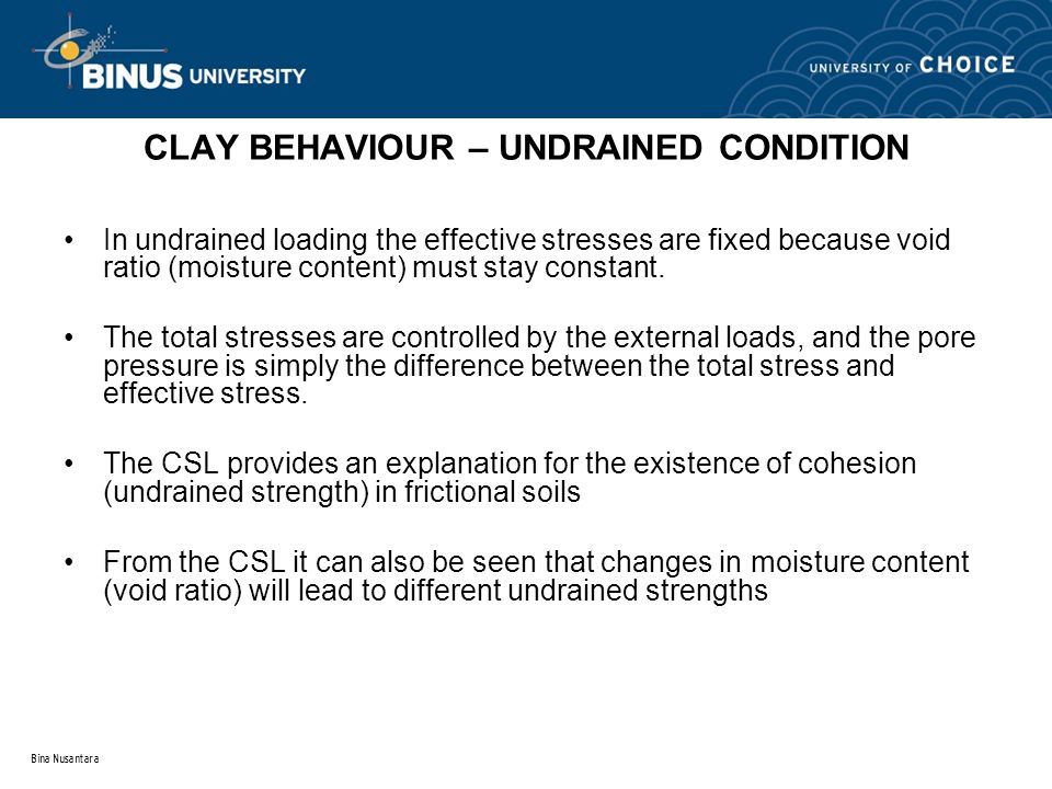 Bina Nusantara CLAY BEHAVIOUR – UNDRAINED CONDITION In undrained loading the effective stresses are fixed because void ratio (moisture content) must s