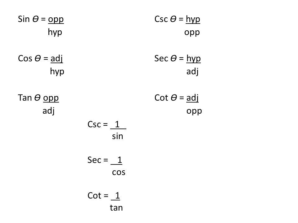 Sin Ɵ = opp hyp Cos Ɵ = adj hyp Tan Ɵ opp adj Csc Ɵ = hyp opp Sec Ɵ = hyp adj Cot Ɵ = adj opp Csc = 1 sin Sec = 1 cos Cot = 1 tan