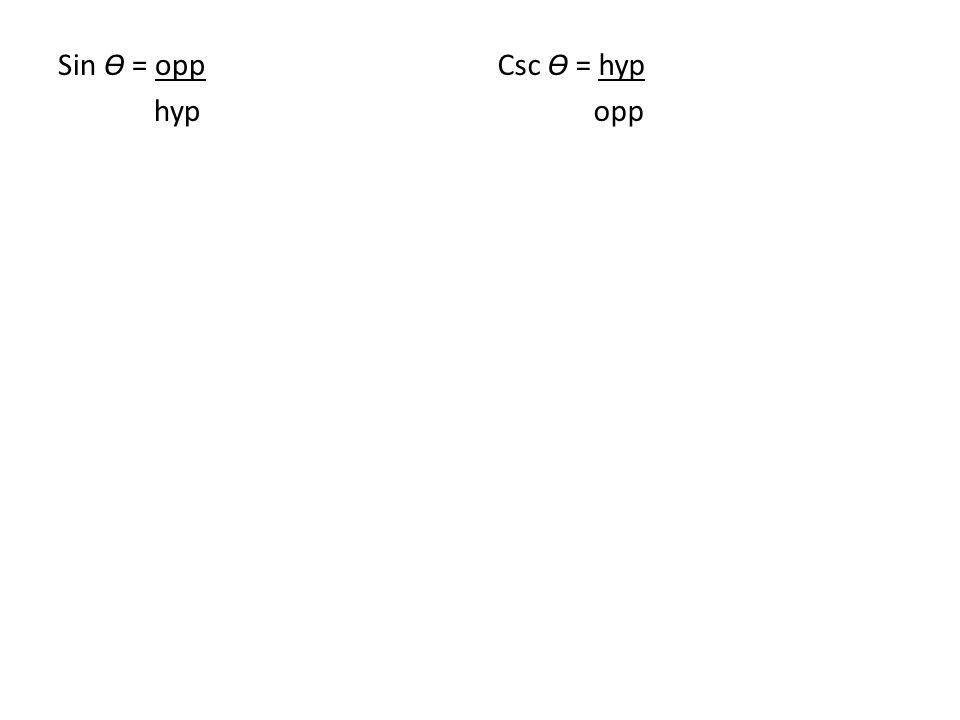 Sin Ɵ = opp hyp Csc Ɵ = hyp opp