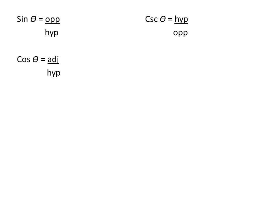 Sin Ɵ = opp hyp Cos Ɵ = adj hyp Csc Ɵ = hyp opp