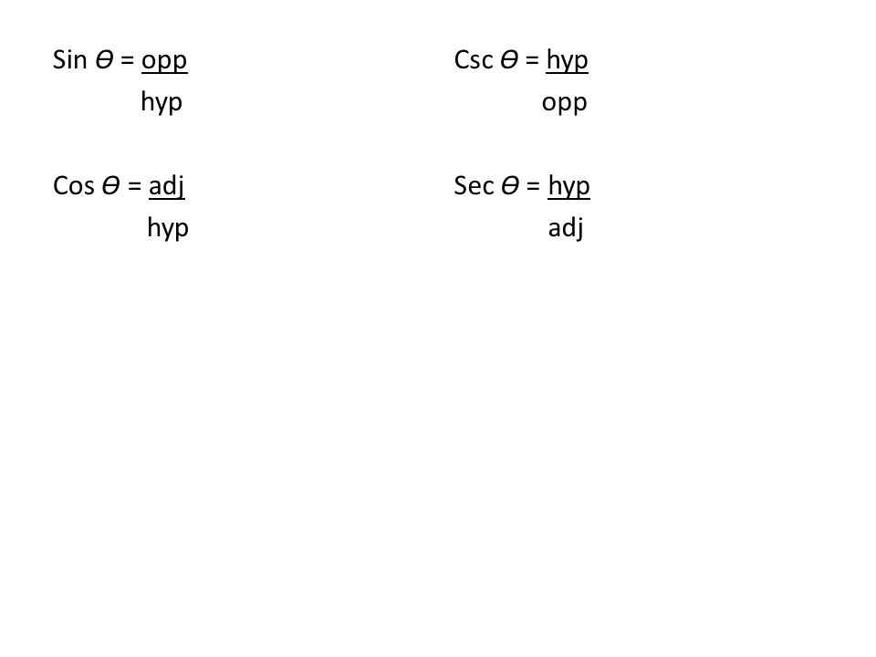 Sin Ɵ = opp hyp Cos Ɵ = adj hyp Csc Ɵ = hyp opp Sec Ɵ = hyp adj
