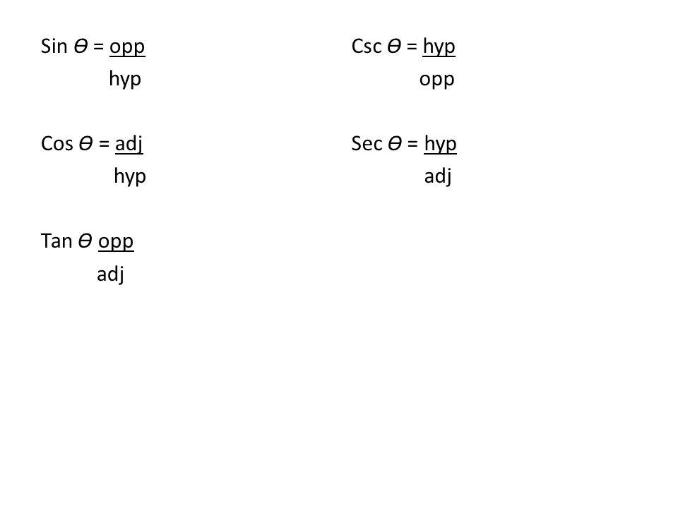 Sin Ɵ = opp hyp Cos Ɵ = adj hyp Tan Ɵ opp adj Csc Ɵ = hyp opp Sec Ɵ = hyp adj