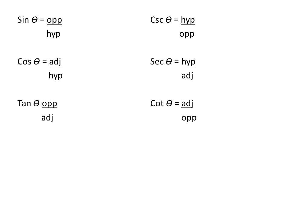 Sin Ɵ = opp hyp Cos Ɵ = adj hyp Tan Ɵ opp adj Csc Ɵ = hyp opp Sec Ɵ = hyp adj Cot Ɵ = adj opp