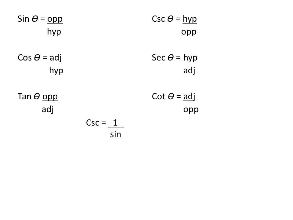 Sin Ɵ = opp hyp Cos Ɵ = adj hyp Tan Ɵ opp adj Csc Ɵ = hyp opp Sec Ɵ = hyp adj Cot Ɵ = adj opp Csc = 1 sin