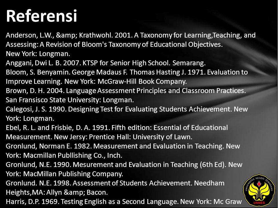 Referensi Anderson, L.W., & Krathwohl. 2001.