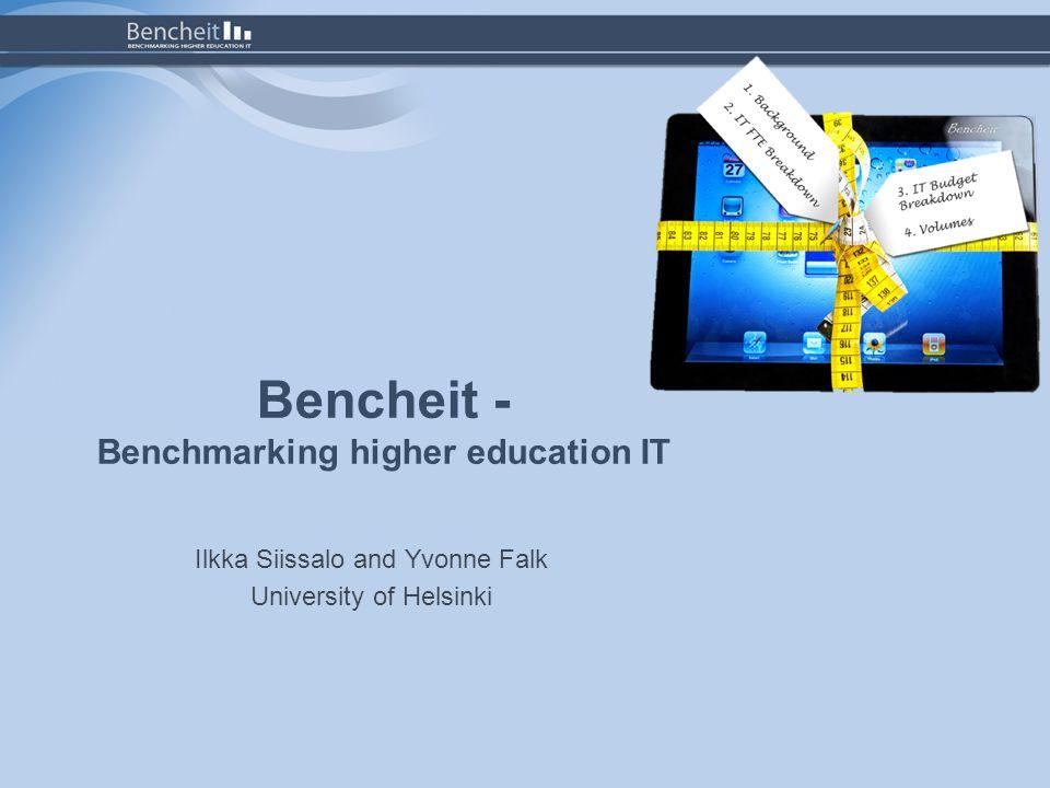 CIO summary 20.6.2012Benchmarking higher education IT / I Siissalo, Y Falk / University of Helsinki12
