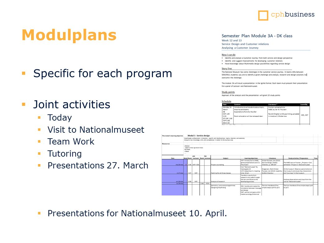 Modulplans  Specific for each program  Joint activities  Today  Visit to Nationalmuseet  Team Work  Tutoring  Presentations 27.