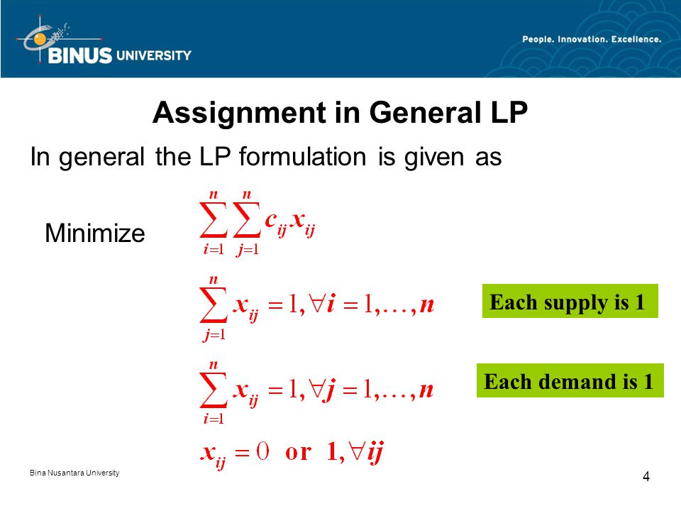 Assignment in General LP Bina Nusantara University 4 In general the LP formulation is given as Minimize Each supply is 1 Each demand is 1