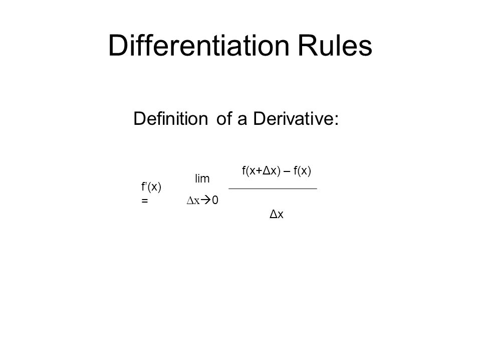 Differentiation Rules Definition of a Derivative: f'(x) = lim Δx  0 f(x+Δx) – f(x) Δx