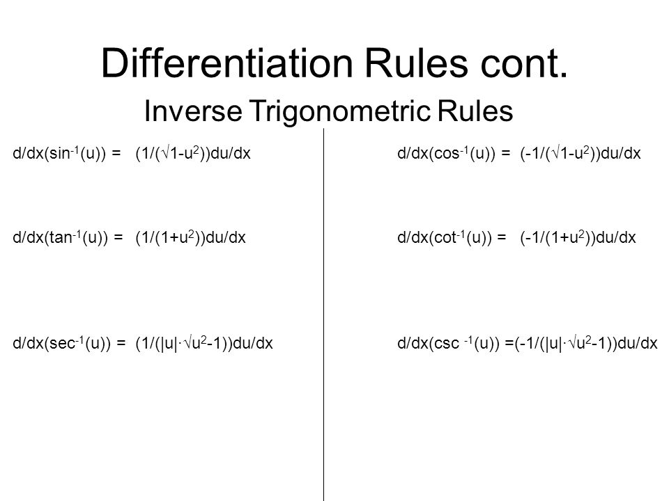 Differentiation Rules cont.
