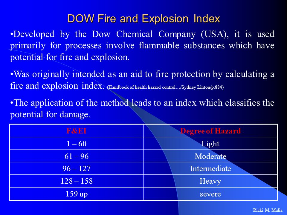 DOW Fire and Explosion Index Ricki M.