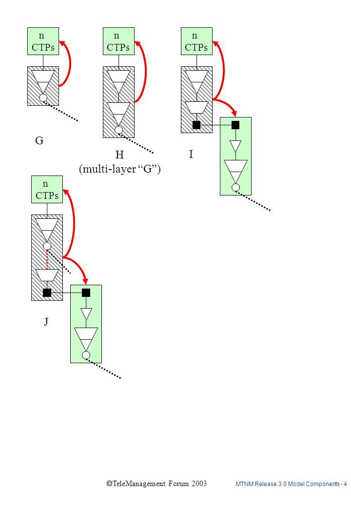 "MTNM Release 3.0 Model Components - 4  TeleManagement Forum 2003 n CTPs n CTPs n CTPs n CTPs G H (multi-layer ""G"") J I"