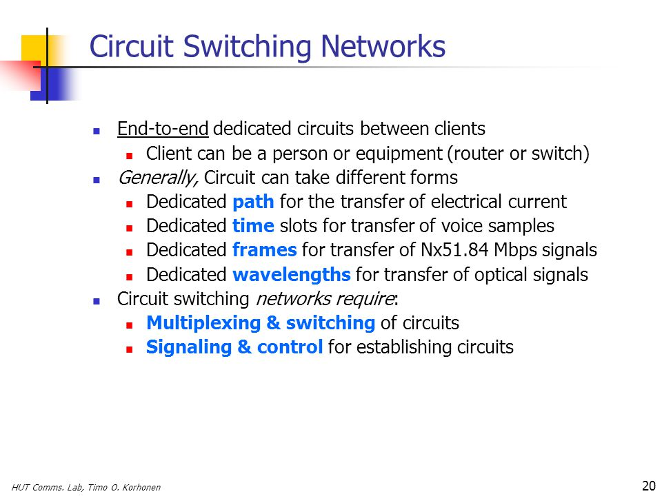 HUT Comms. Lab, Timo O. Korhonen 20 Circuit Switching Networks End-to-end dedicated circuits between clients Client can be a person or equipment (rout