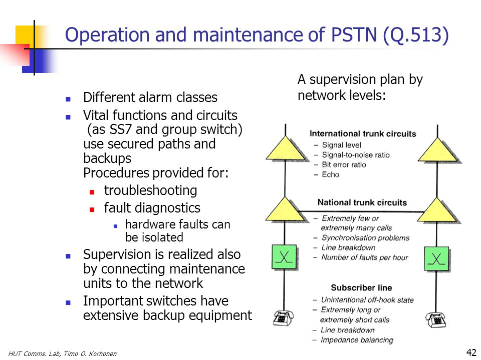 HUT Comms. Lab, Timo O. Korhonen 42 Operation and maintenance of PSTN (Q.513) Different alarm classes Vital functions and circuits (as SS7 and group s