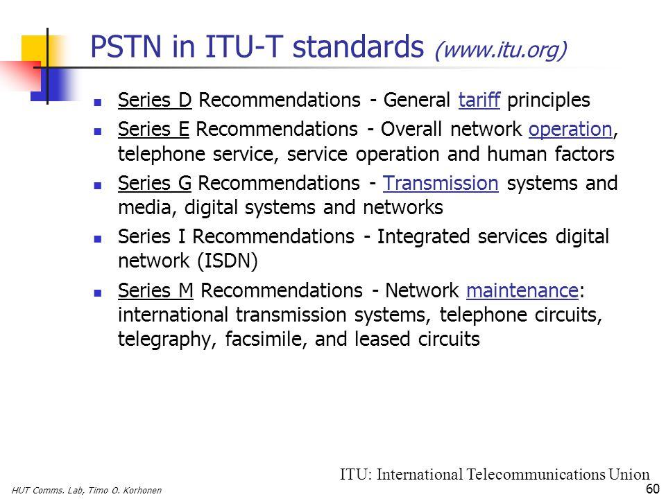 HUT Comms. Lab, Timo O. Korhonen 60 PSTN in ITU-T standards (www.itu.org) Series D Recommendations - General tariff principles Series E Recommendation