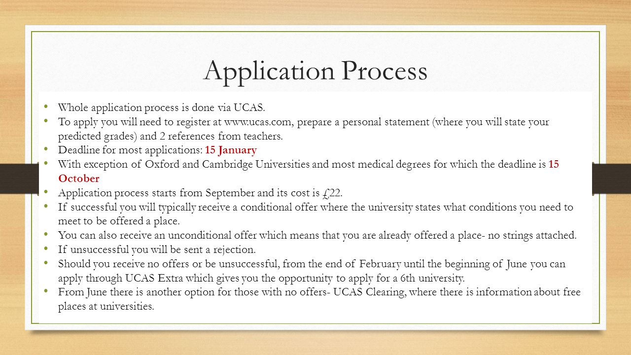 Application Process Whole application process is done via UCAS. To apply you will need to register at www.ucas.com, prepare a personal statement (wher