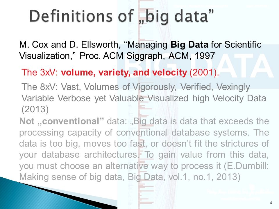 4 M.Cox and D. Ellsworth, Managing Big Data for Scientific Visualization, Proc.