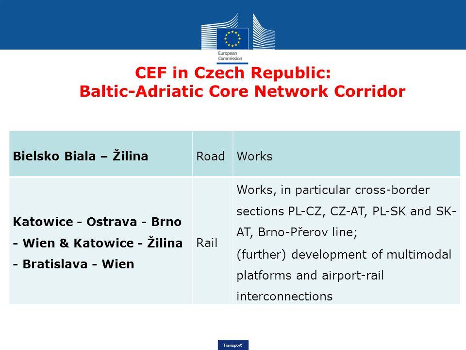 Transport CEF in Czech Republic: Baltic-Adriatic Core Network Corridor Bielsko Biala – ŽilinaRoadWorks Katowice - Ostrava - Brno - Wien & Katowice - Ž