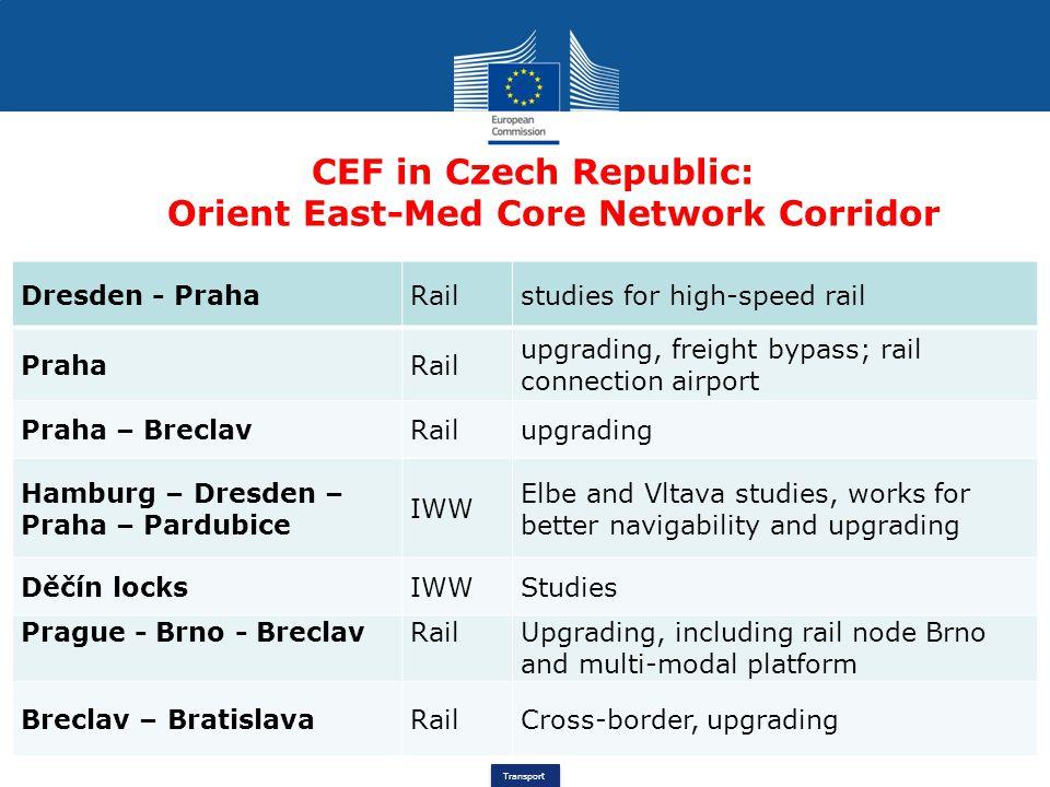 Transport CEF in Czech Republic: Orient East-Med Core Network Corridor Dresden - PrahaRailstudies for high-speed rail PrahaRail upgrading, freight byp