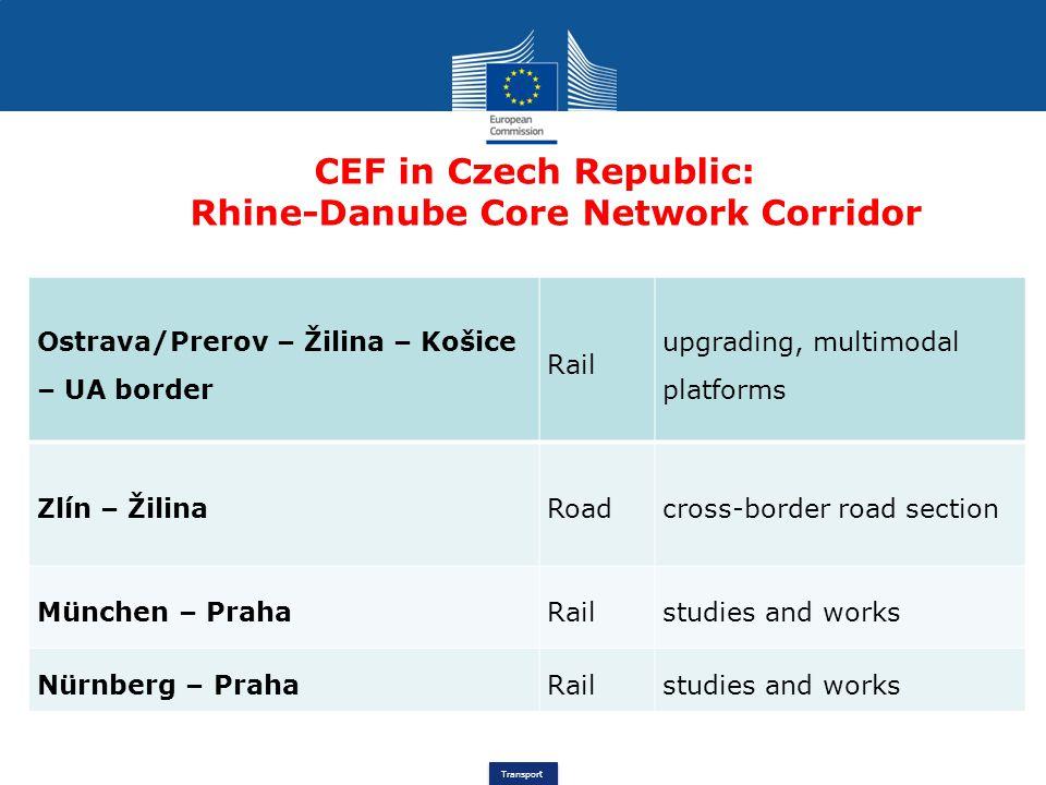 Transport CEF in Czech Republic: Rhine-Danube Core Network Corridor Ostrava/Prerov – Žilina – Košice – UA border Rail upgrading, multimodal platforms