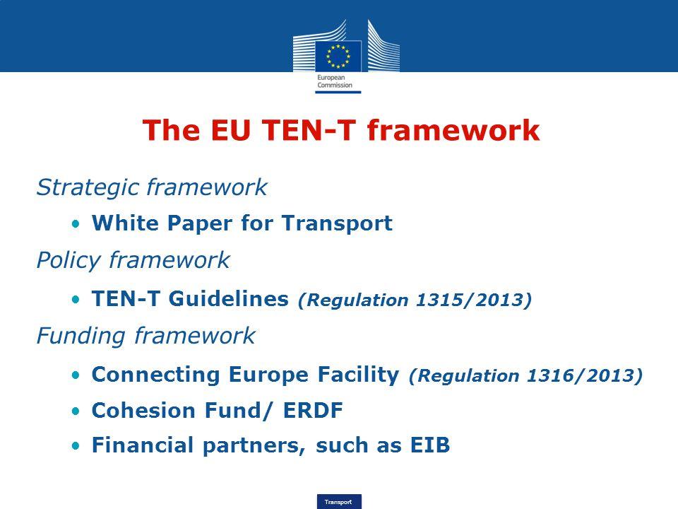 Transport The EU TEN-T framework Strategic framework White Paper for Transport Policy framework TEN-T Guidelines (Regulation 1315/2013) Funding framew