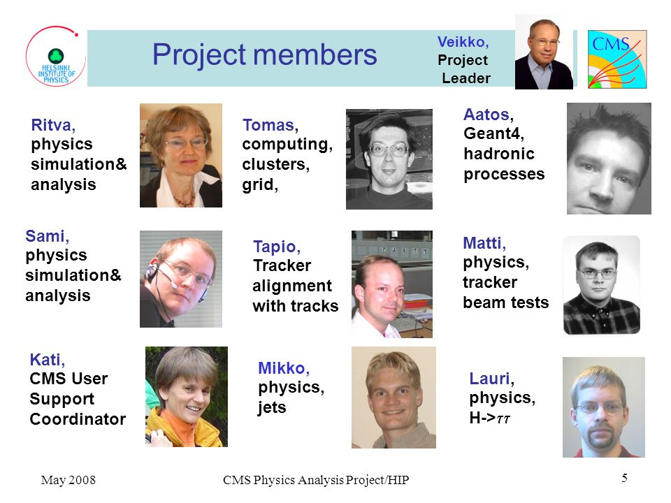 May 2008 CMS Physics Analysis Project/HIP 5 Project members Aatos, Geant4, hadronic processes Sami, physics simulation& analysis Tomas, computing, clusters, grid, Tapio, Tracker alignment with tracks i Veikko, Project Leader Ritva, physics simulation& analysis Le Lauri, physics, H->  Kati, CMS User Support Coordinator Matti, physics, tracker beam tests Mikko, physics, jets