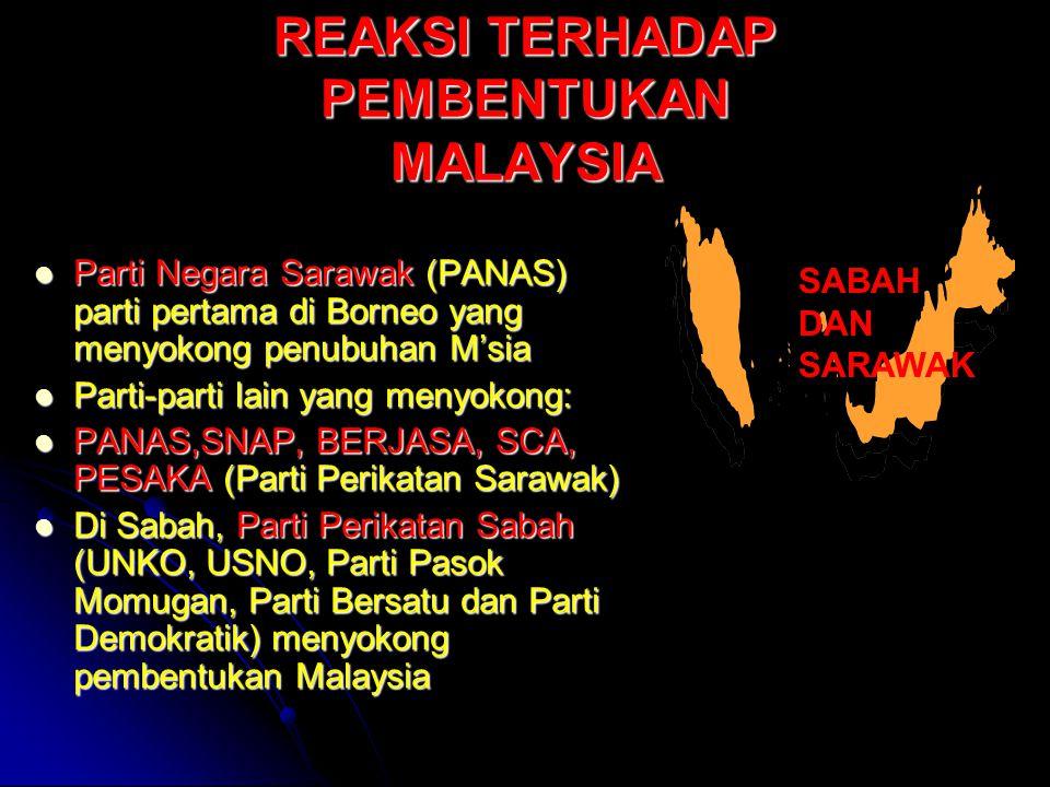 REAKSI TERHADAP PEMBENTUKAN MALAYSIA Parti Negara Sarawak (PANAS) parti pertama di Borneo yang menyokong penubuhan M'sia Parti Negara Sarawak (PANAS)
