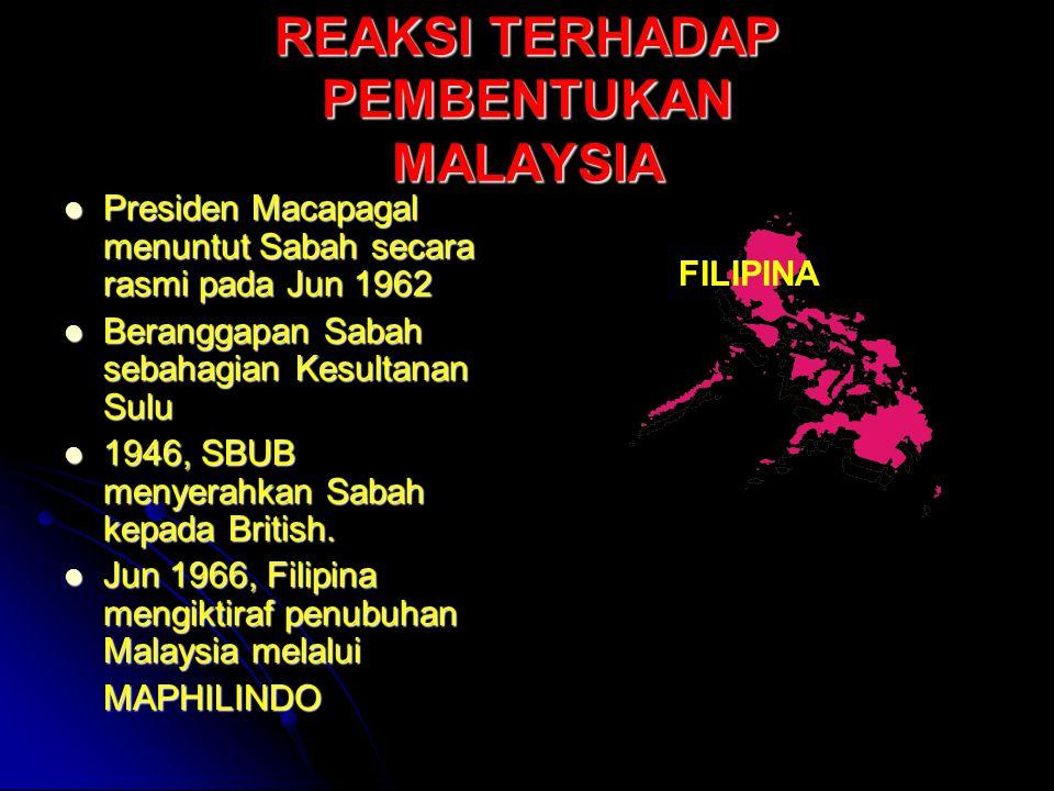 REAKSI TERHADAP PEMBENTUKAN MALAYSIA Presiden Macapagal menuntut Sabah secara rasmi pada Jun 1962 Presiden Macapagal menuntut Sabah secara rasmi pada