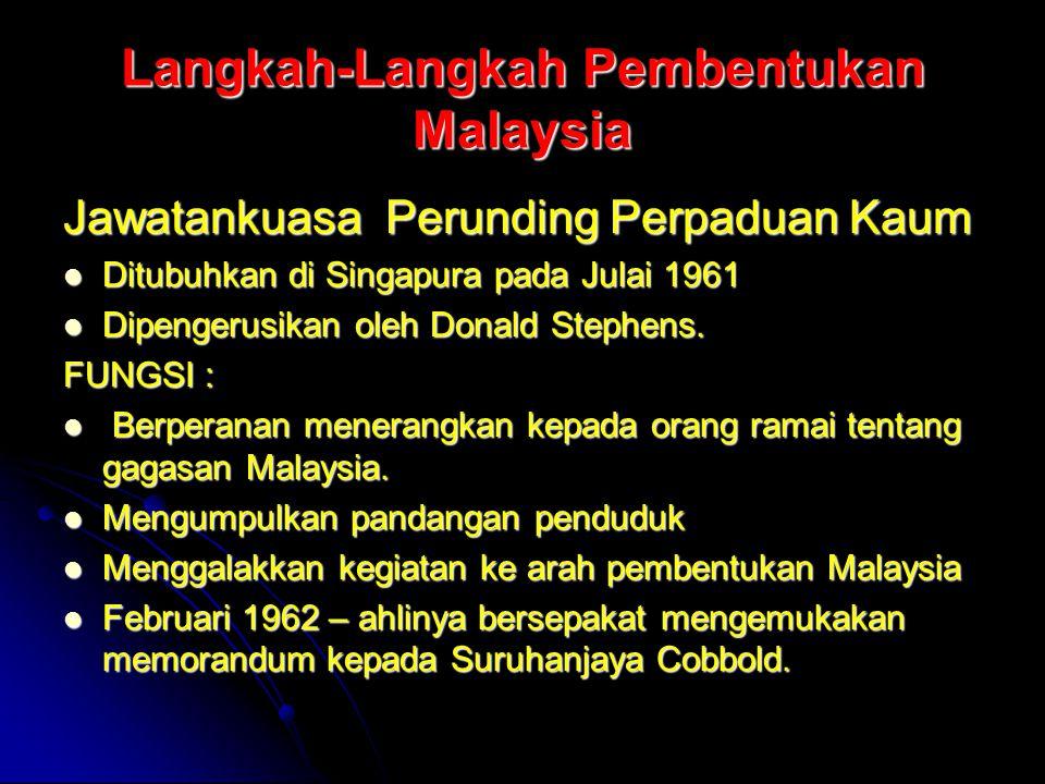 Langkah-Langkah Pembentukan Malaysia Jawatankuasa Perunding Perpaduan Kaum Ditubuhkan di Singapura pada Julai 1961 Ditubuhkan di Singapura pada Julai
