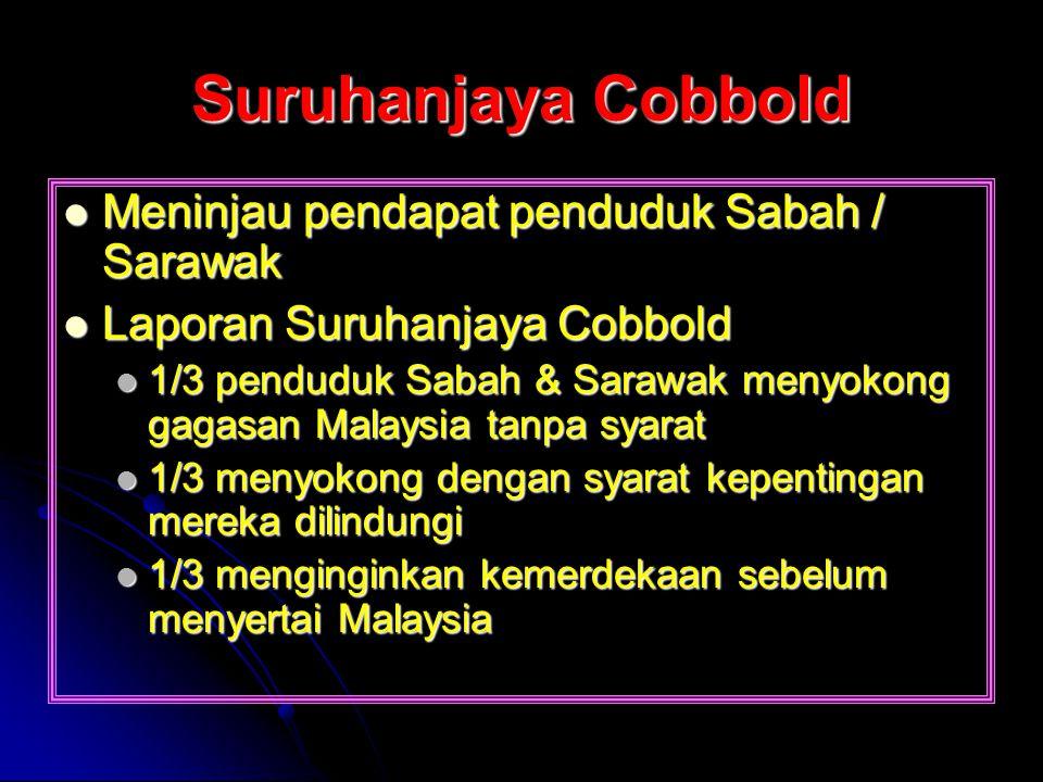 Suruhanjaya Cobbold Meninjau pendapat penduduk Sabah / Sarawak Meninjau pendapat penduduk Sabah / Sarawak Laporan Suruhanjaya Cobbold Laporan Suruhanj