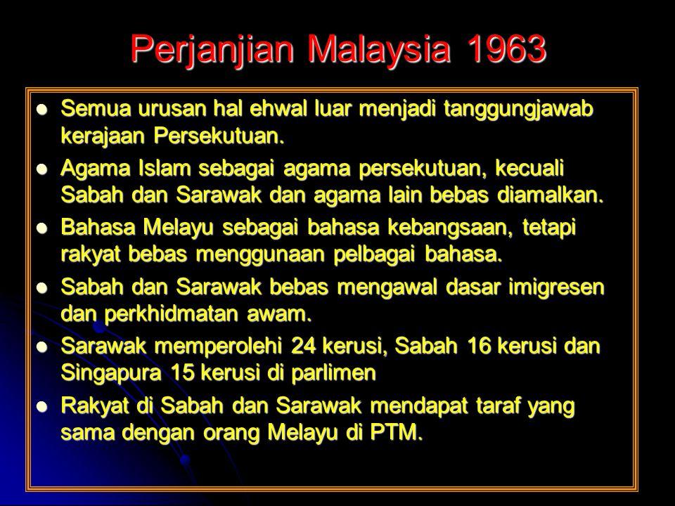 Perjanjian Malaysia 1963 Semua urusan hal ehwal luar menjadi tanggungjawab kerajaan Persekutuan. Semua urusan hal ehwal luar menjadi tanggungjawab ker