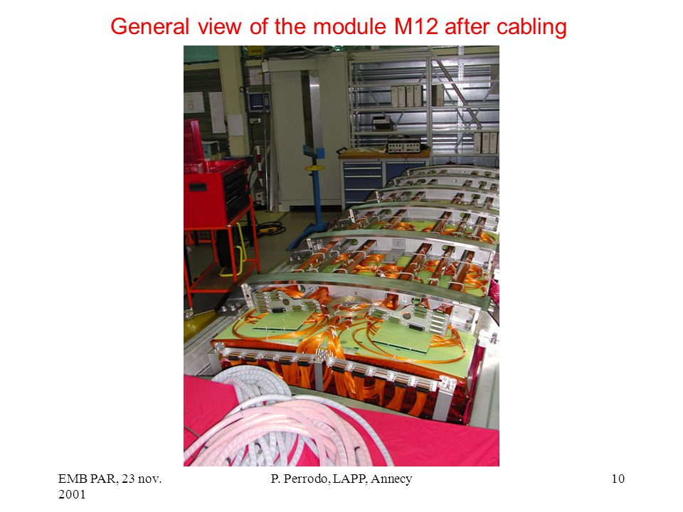 EMB PAR, 23 nov. 2001 P. Perrodo, LAPP, Annecy10 General view of the module M12 after cabling
