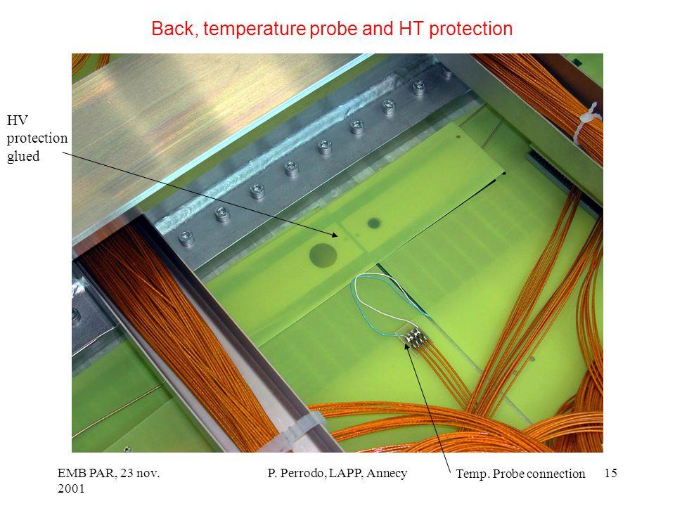 EMB PAR, 23 nov. 2001 P. Perrodo, LAPP, Annecy15 Back, temperature probe and HT protection Temp.