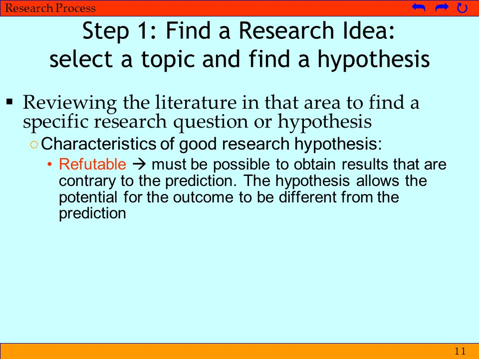 © Metpenstat I - FPsiUI Langkah-langkah Penelitian   Research Process   11 Step 1: Find a Research Idea: select a topic and find a hypothesis 
