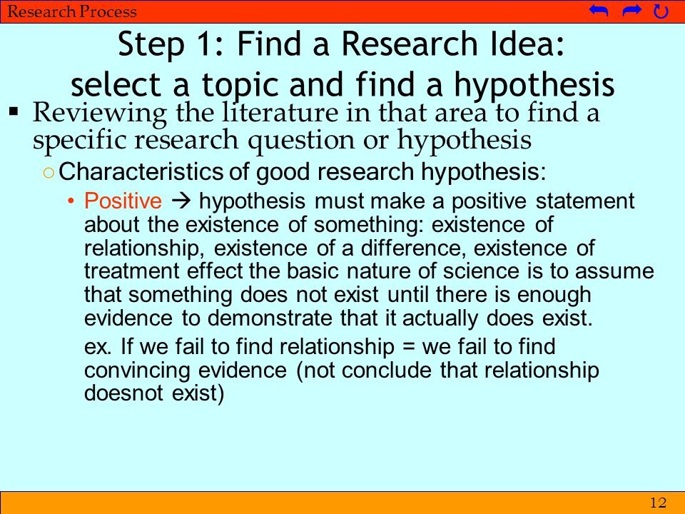 © Metpenstat I - FPsiUI Langkah-langkah Penelitian   Research Process   12 Step 1: Find a Research Idea: select a topic and find a hypothesis 