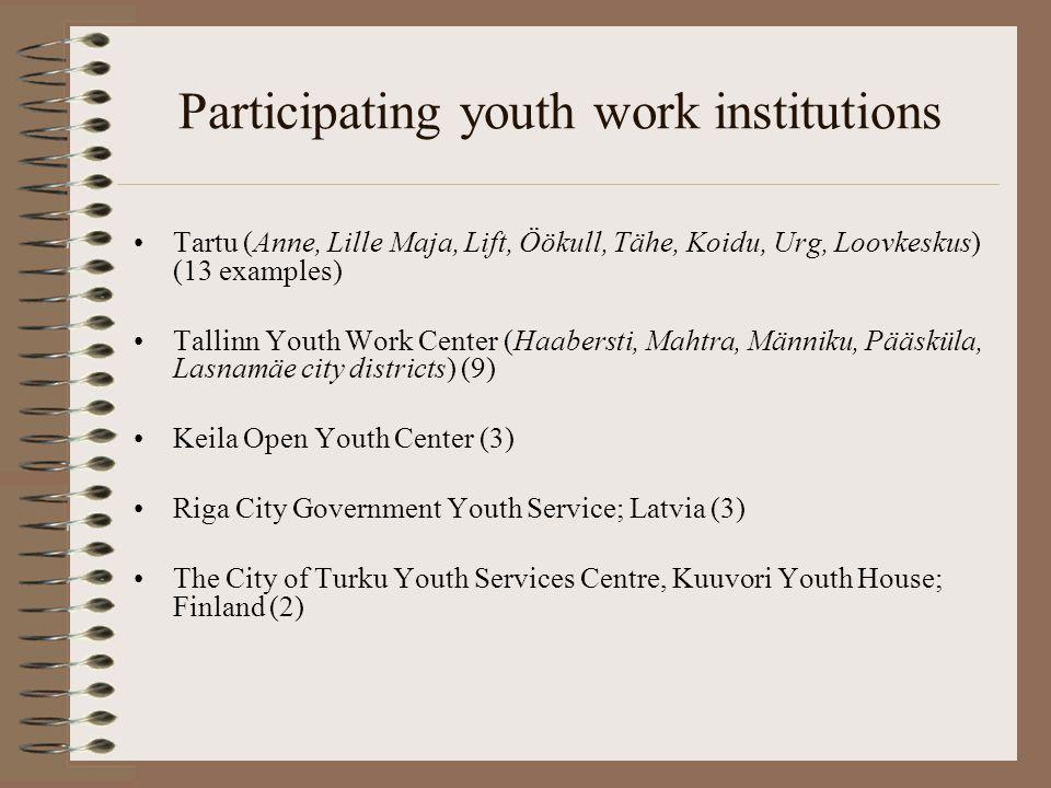 Participating youth work institutions Tartu (Anne, Lille Maja, Lift, Öökull, Tähe, Koidu, Urg, Loovkeskus) (13 examples) Tallinn Youth Work Center (Ha