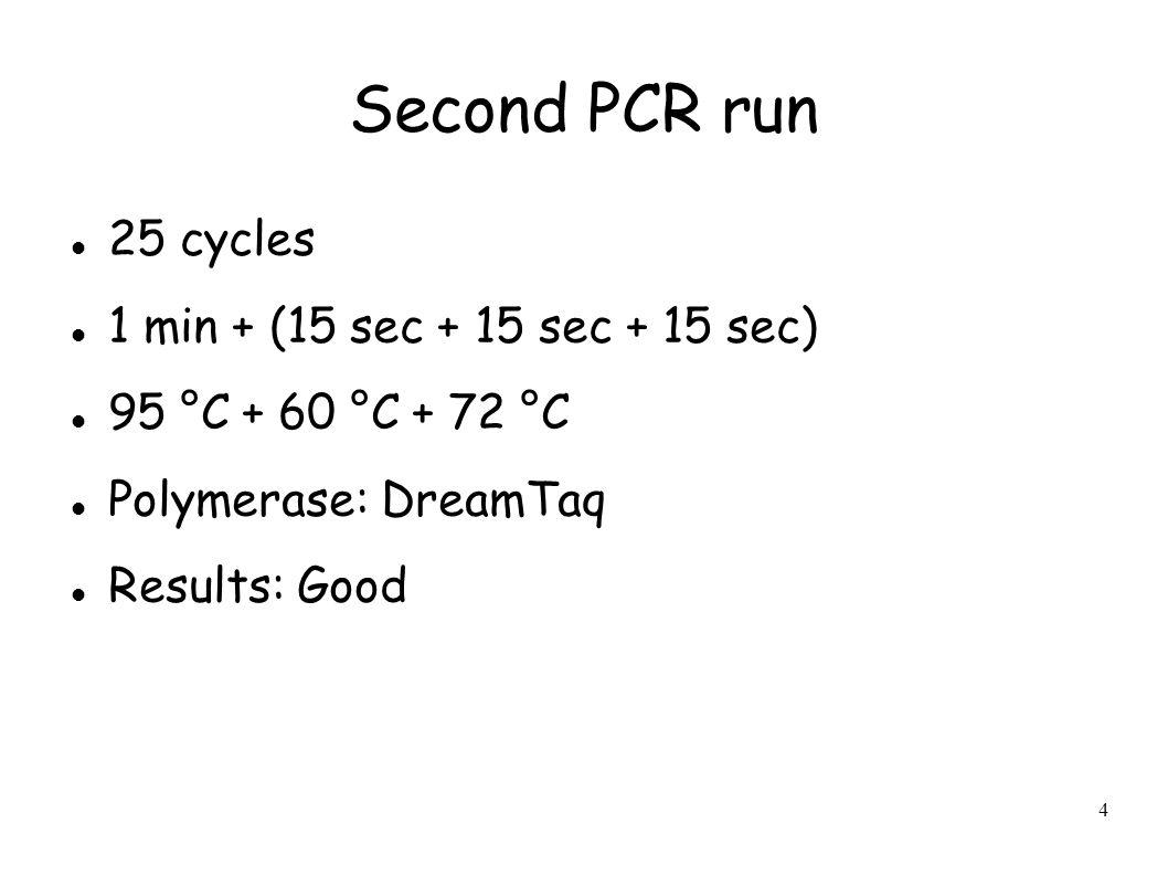 4 Second PCR run 25 cycles 1 min + (15 sec + 15 sec + 15 sec) 95 °C + 60 °C + 72 °C Polymerase: DreamTaq Results: Good