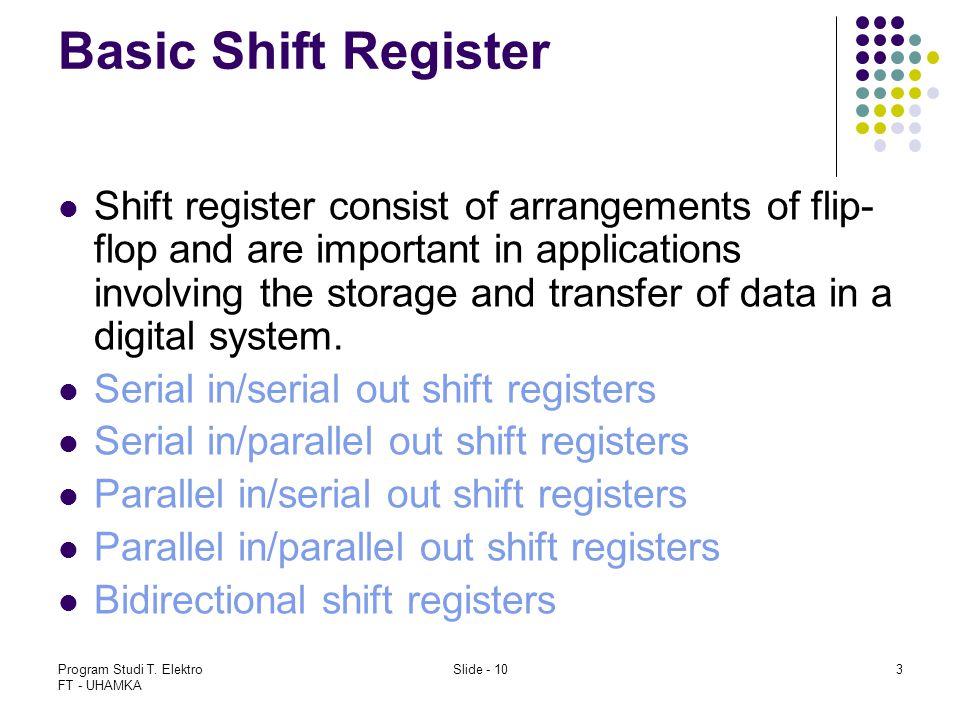 Program Studi T. Elektro FT - UHAMKA Slide - 103 Basic Shift Register Shift register consist of arrangements of flip- flop and are important in applic