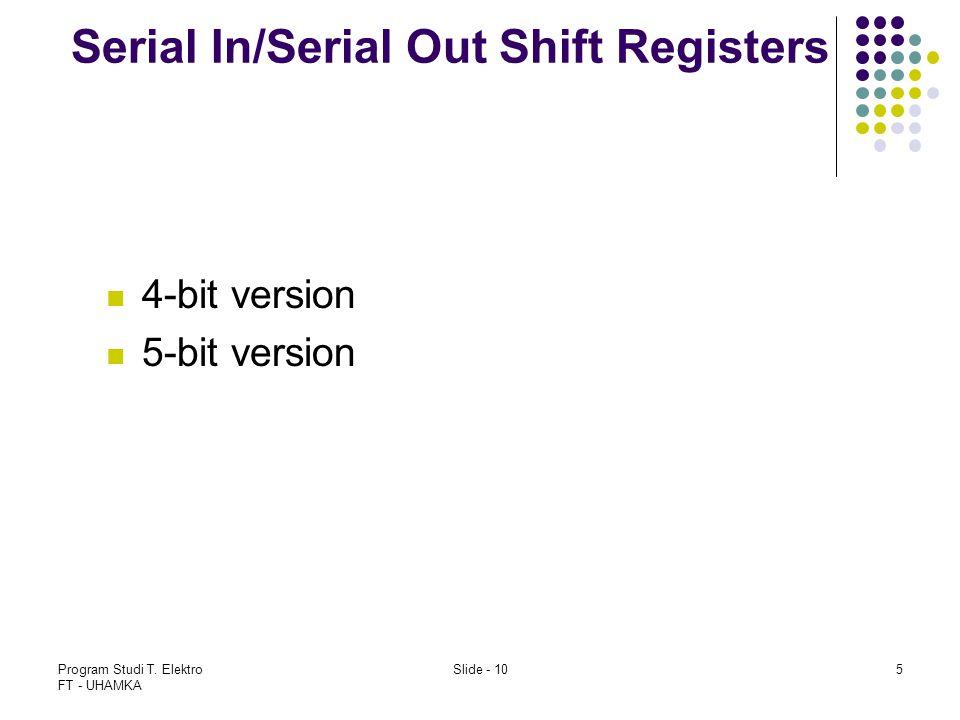 Program Studi T. Elektro FT - UHAMKA Slide - 105 Serial In/Serial Out Shift Registers 4-bit version 5-bit version