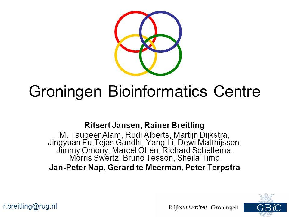 r.breitling@rug.nl Groningen Bioinformatics Centre GenomicsTranscriptomics Software Engineering Proteomics & Metabolomics