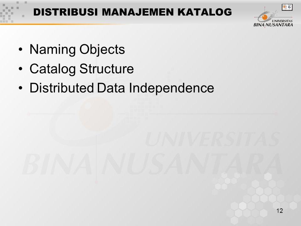 12 DISTRIBUSI MANAJEMEN KATALOG Naming Objects Catalog Structure Distributed Data Independence