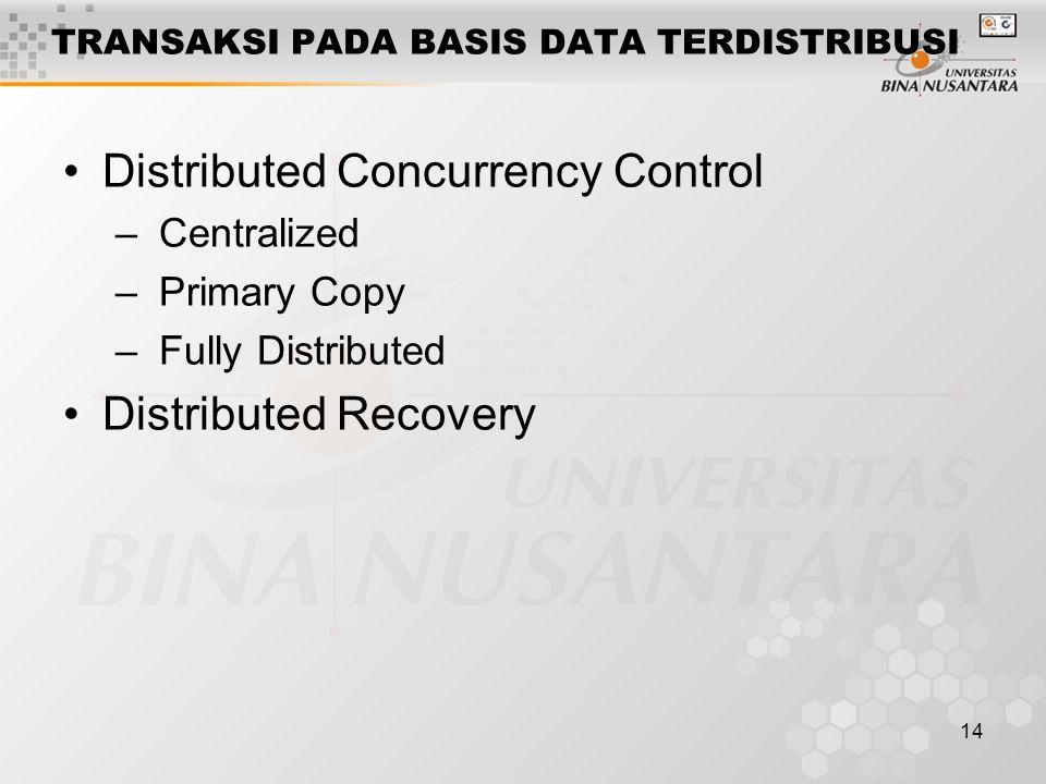 14 TRANSAKSI PADA BASIS DATA TERDISTRIBUSI Distributed Concurrency Control – Centralized – Primary Copy – Fully Distributed Distributed Recovery