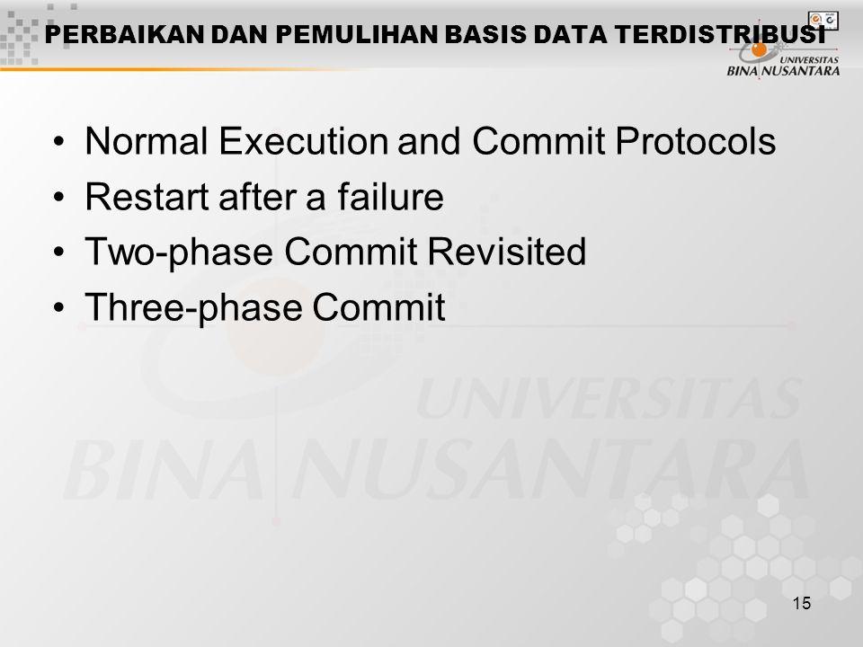 15 PERBAIKAN DAN PEMULIHAN BASIS DATA TERDISTRIBUSI Normal Execution and Commit Protocols Restart after a failure Two-phase Commit Revisited Three-pha